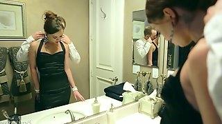 Hot leggy brunette in a dress receives a firm dicking