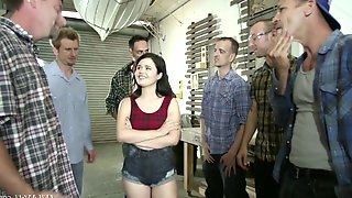 Several dudes fuck pretty hot brunette Yhivi and cum on her face