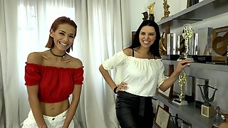 Two sluts Kira Queen and Veronica Leal team up for one stiff dick