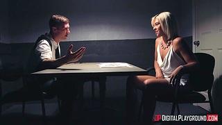 Nympho spoil Rharri Rhound gets messy facial during interrogation