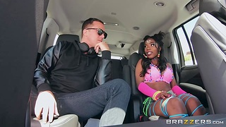Hot black chick Sarah Banks is fucked by hot blooded white guy