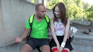 Outdoor fucking with brunette Nata Ocean wearing stockings