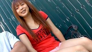 Closeup homemade video of cute Noriko Kago giving a blowjob