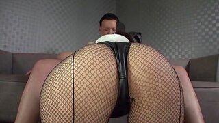 Sakura Miyuki wearing fishnet pantyhose moans during nice sex